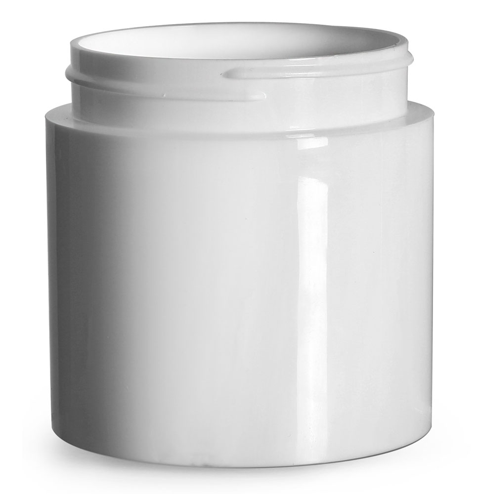 6 oz Plastic Jars, White Polypropylene Round Open Bottom Jars (Bulk), Caps Not Included