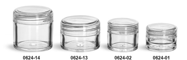 Plastic Jars, Clear Polystyrene Thick Wall Jars w/ Dome Caps