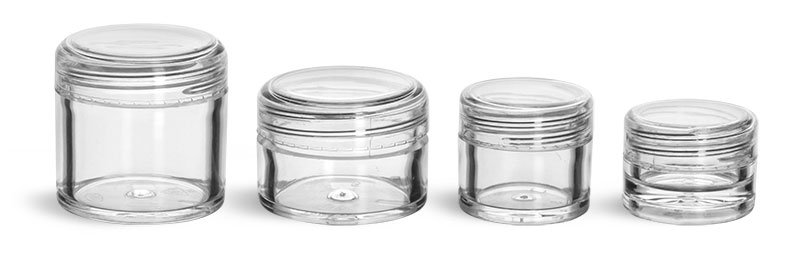 Plastic Jars, Clear Polystyrene Thick Wall Jars w/ Dome Caps'