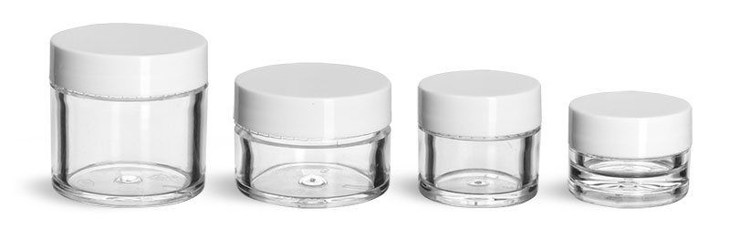 Plastic Jars, Clear Polystyrene Thick Wall Jars w/ White Smooth Plastic Lined Caps