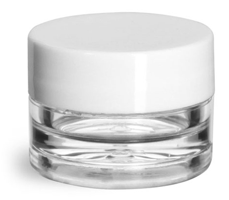 1/8 oz Clear Styrene Thick Wall Jars w/ White Smooth Plastic Lined Caps