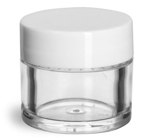 Clear Styrene Thick Wall Jars w/ White Smooth Plastic Lined Caps