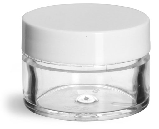 1/2 oz Clear Styrene Thick Wall Jars w/ White Smooth Plastic Lined Caps