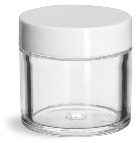 1 oz Clear Styrene Thick Wall Jars w/ White Smooth Plastic Lined Caps