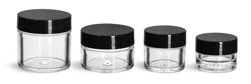 Plastic Jars, Clear Polystyrene Thick Wall Jars w/ Black Smooth Plastic Lined Caps