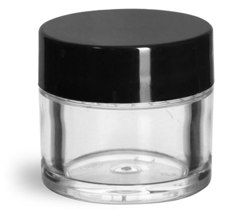 1/4 oz Clear Styrene Thick Wall Jars w/ Black Smooth Plastic Lined Caps