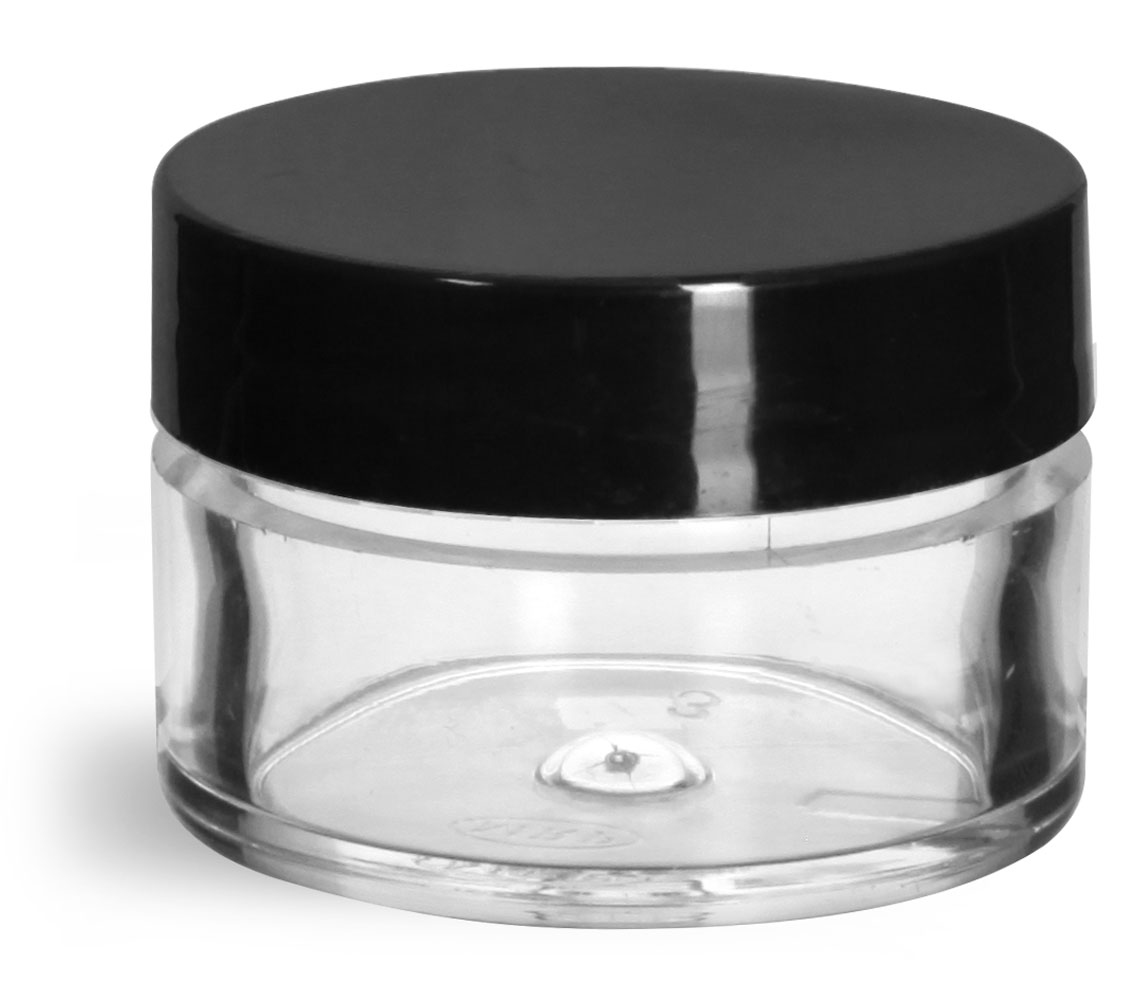1/2 oz Clear Styrene Thick Wall Jars w/ Black Smooth Plastic Lined Caps