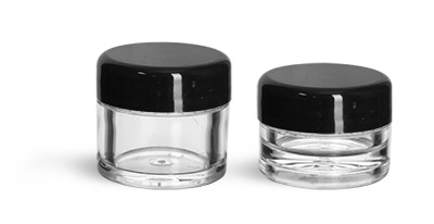 Plastic Jars, Clear Polystyrene Thick Wall Jars with Black Smooth Lined Plastic Dome Caps