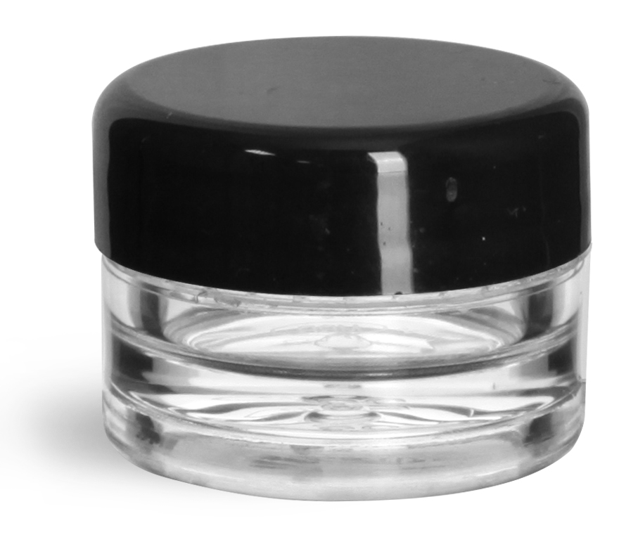1/8 oz Clear Styrene Thick Wall Jars with Black Smooth Lined Plastic Dome Caps