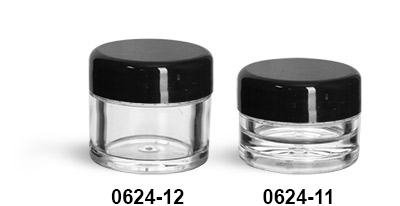 Plastic Jars, Clear Polystyrene Thick Wall Jars w/ Black Smooth Lined Plastic Dome Caps