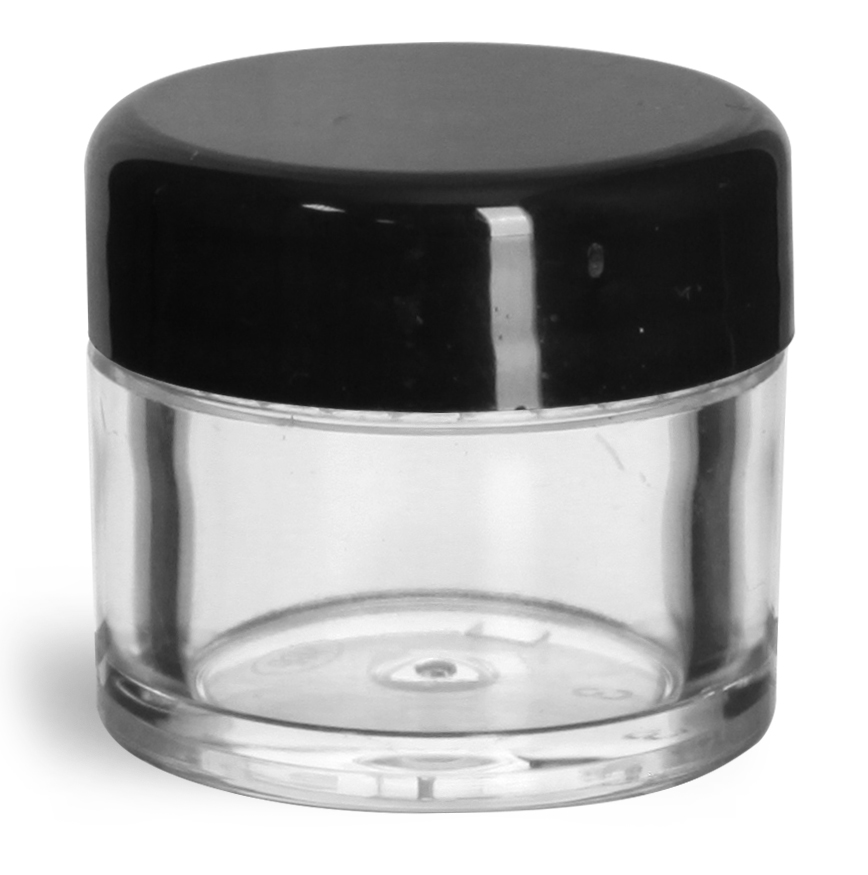 1/4 oz Clear Styrene Thick Wall Jars with Black Smooth Lined Plastic Dome Caps
