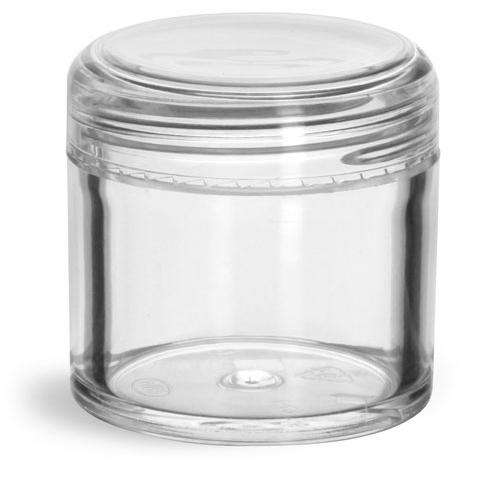 1 oz Clear Styrene Jars w/ Dome Caps