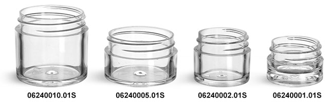 Plastic Jars, Clear Polystyrene Thick Wall Jars (Bulk) Caps Not Included