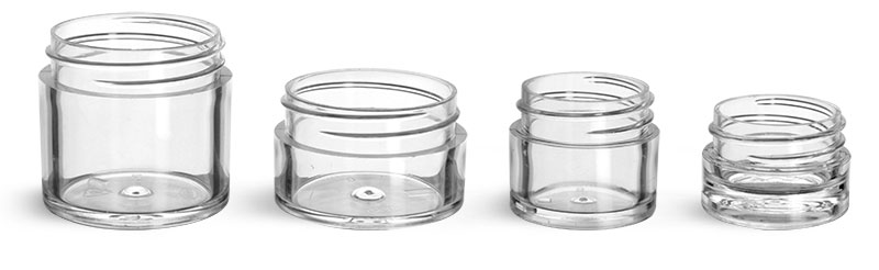 Clear Polystyrene Thick Wall Jars (Bulk), Caps Not Included