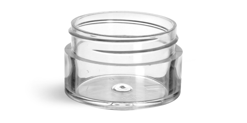 1/2 oz Clear Styrene Thick Wall Jars (Bulk), Caps Not Included