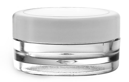 Plastic Jars, 1/4 oz Clear SAN Cosmetic Containers w/ White Caps & Clear Windows