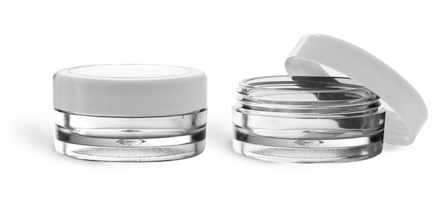 Plastic Jars, Clear SAN Cosmetic Jars w/ White Caps & Clear Windows