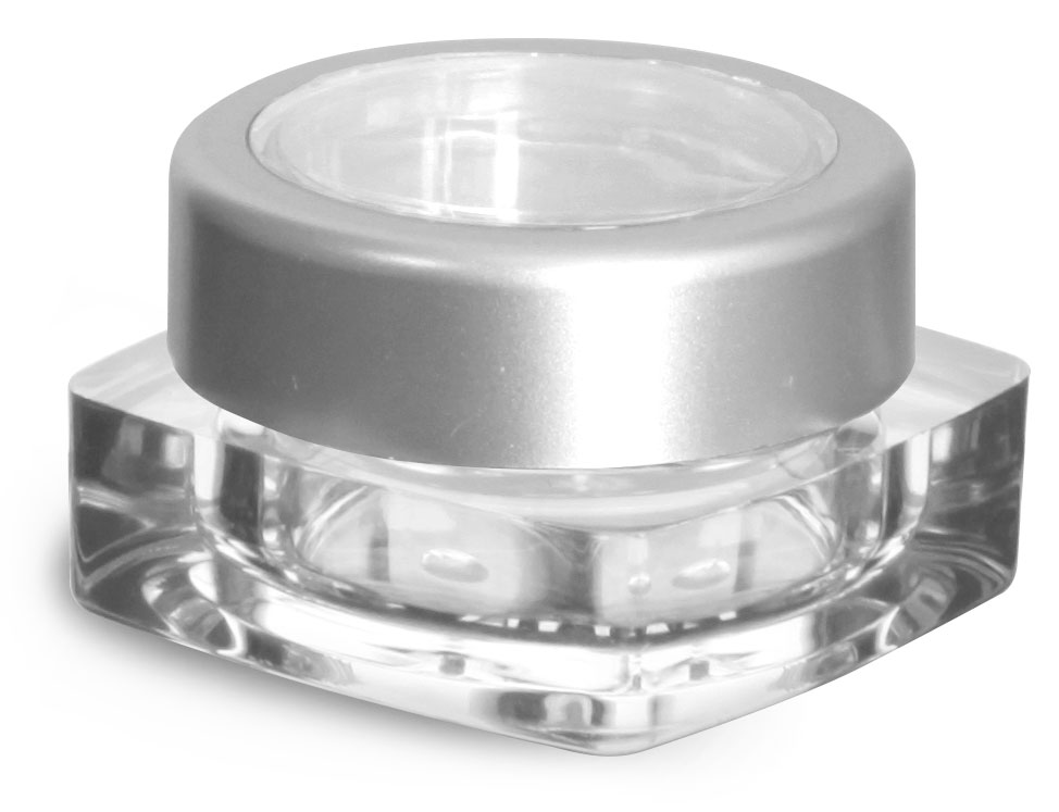 5 ml Clear Styrene Square Jars w/ Silver Cap and Clear Window