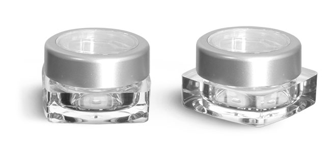 Plastic Jars, 5 ml Clear Polystyrene Square Jars w/ Silver Cap and Clear Window