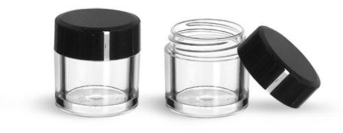 Plastic Jars, Clear Polystyrene Jars w/ Black Smooth Plastic Flat Caps