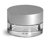 Plastic Jars, 5ml Clear PET Jars w/ Matte Silver Caps