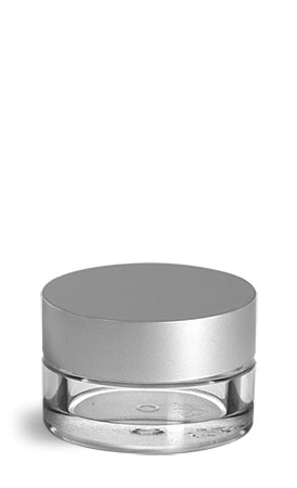Plastic Jars, Clear PET Cosmetic Jars w/ Matte Silver Caps