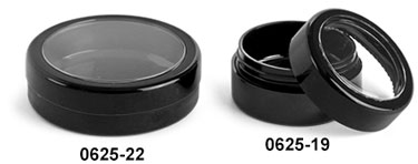Plastic Jars, Black ABS Cosmetic Jars With Window Lids