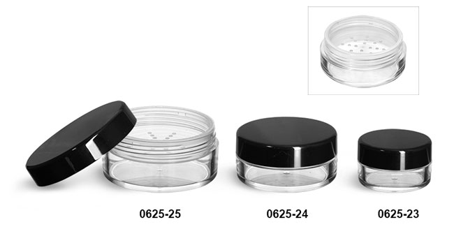 Plastic Jars, Clear Polystyrene Powder Jars w/ Sifters and Black Smooth Caps