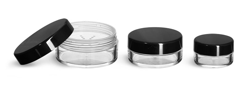 Plastic Jars, Clear Polystyrene Powder Jars w/ Sifters and Black Smooth Plastic Caps