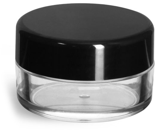 Clear Styrene Powder Jars w/ Sifters and Black Smooth Plastic Caps