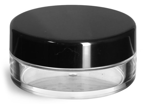 20 ml Clear Styrene Powder Jars w/ Sifters and Black Smooth Plastic Caps