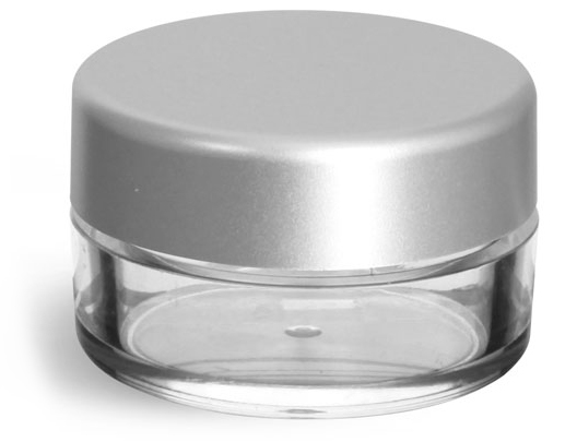 Clear Styrene Powder Jars w/ Sifters and Matte Silver Caps
