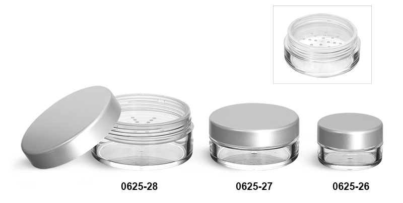 Plastic Jars, Clear Polystyrene Powder Jars w/ Sifters and Matte Silver Caps