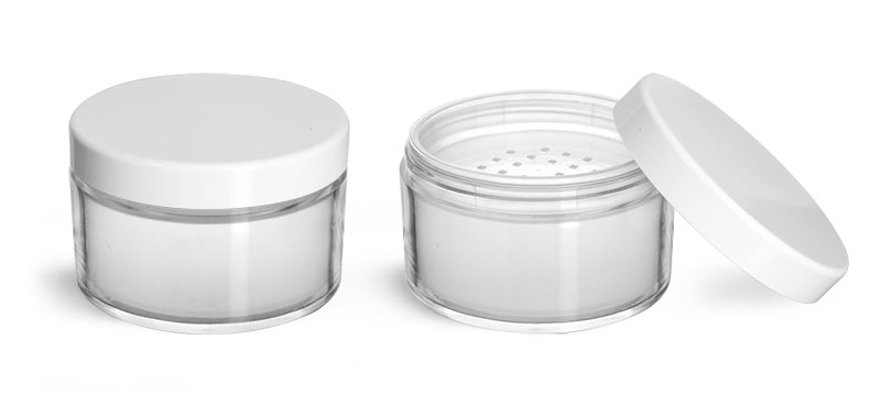 Plastic Jars, Clear Polystyrene Jars with White Caps and Powder Sifter Inserts