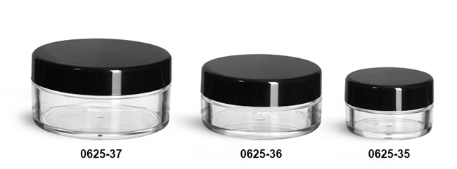 Plastic Jars, Clear Polystyrene Powder Jars w/ Black Smooth Plastic Caps