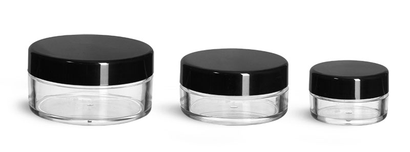 Plastic Jars, Clear Polystyrene Jars w/ Black Smooth Plastic Caps