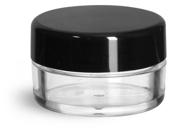10 ml Clear Styrene Jars w/ Black Smooth Plastic Caps