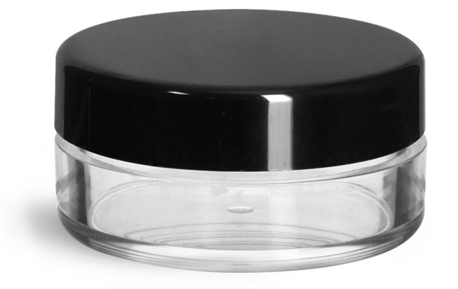 20 ml Clear Styrene Jars w/ Black Smooth Plastic Caps