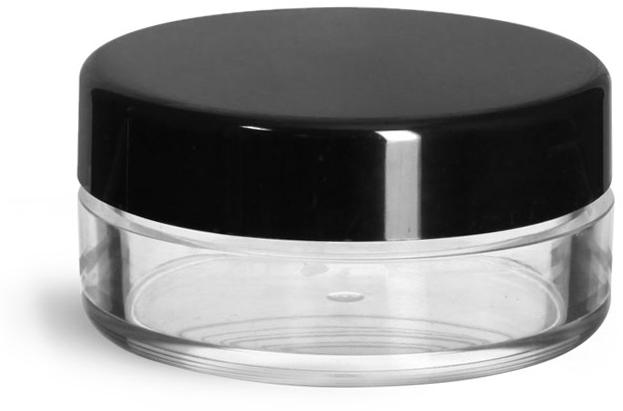 Clear Styrene Jars w/ Black Smooth Plastic Caps