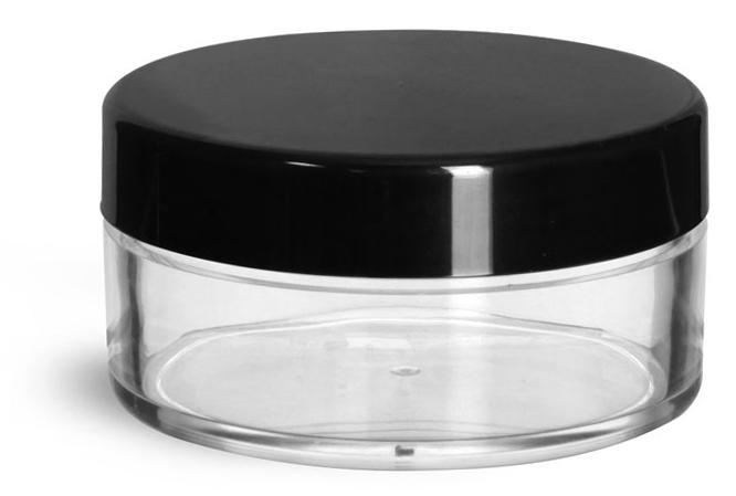45 ml Clear Styrene Jars w/ Black Smooth Plastic Caps