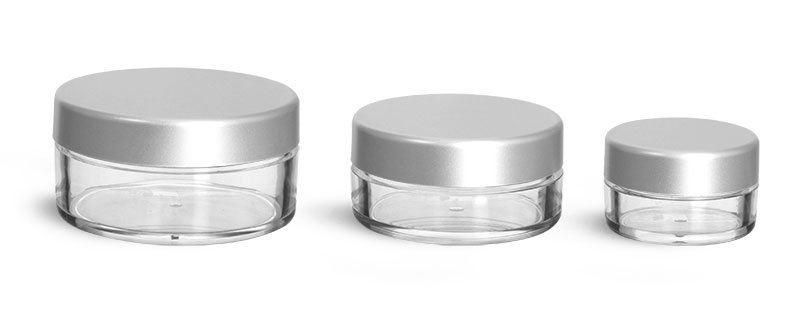 Plastic Jars, Clear Polystyrene Jars w/ Matte Silver Caps