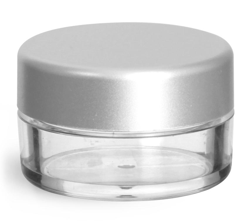 10 ml Clear Styrene Jars w/ Matte Silver Caps