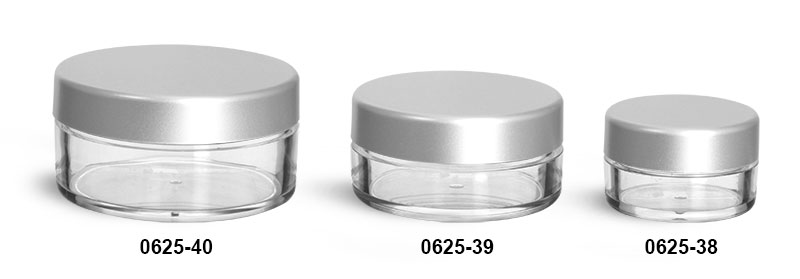 Plastic Jars, Clear Polystyrene Powder Jars w/ Matte Silver Caps