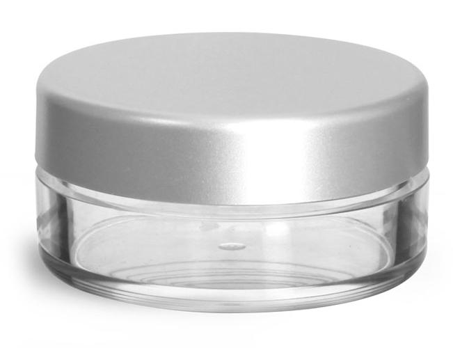 20 ml Clear Styrene Jars w/ Matte Silver Caps