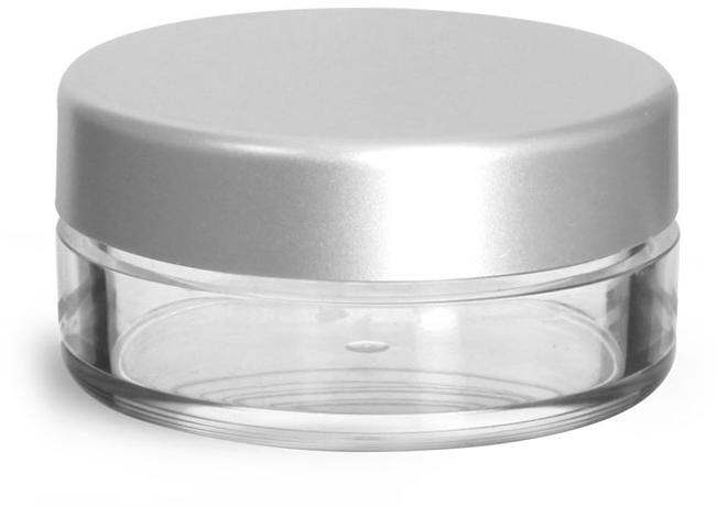 Clear Styrene Jars w/ Matte Silver Caps
