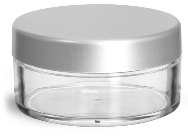 45 ml Clear Styrene Jars w/ Matte Silver Caps
