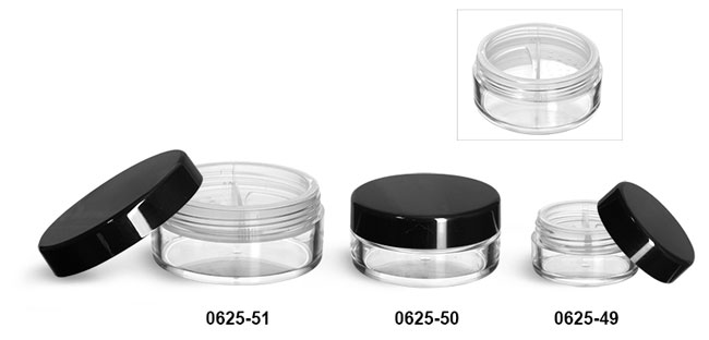 Plastic Jars, Clear Polystyrene Jars w/ Natural Double Sifters & Black Smooth Lined Caps