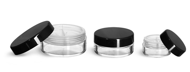 Plastic Jars, Clear Polystyrene Jars with Natural Double Sifters & Black Smooth Lined Caps