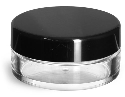 20 ml Clear Styrene Jars with Natural Double Sifters & Black Smooth Lined Caps