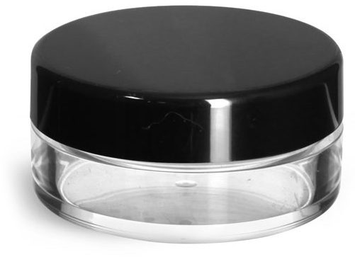 Clear Styrene Jars with Natural Double Sifters & Black Smooth Lined Caps